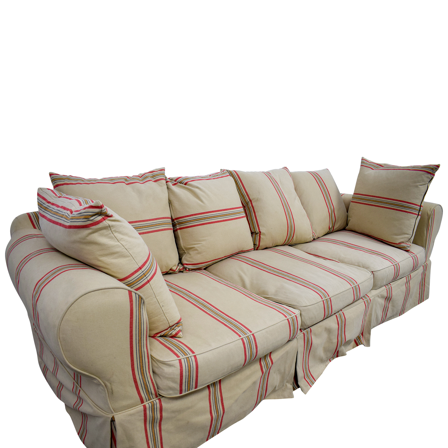 90 off beige with red stripe three cushion slipcover sofa sofas. Black Bedroom Furniture Sets. Home Design Ideas