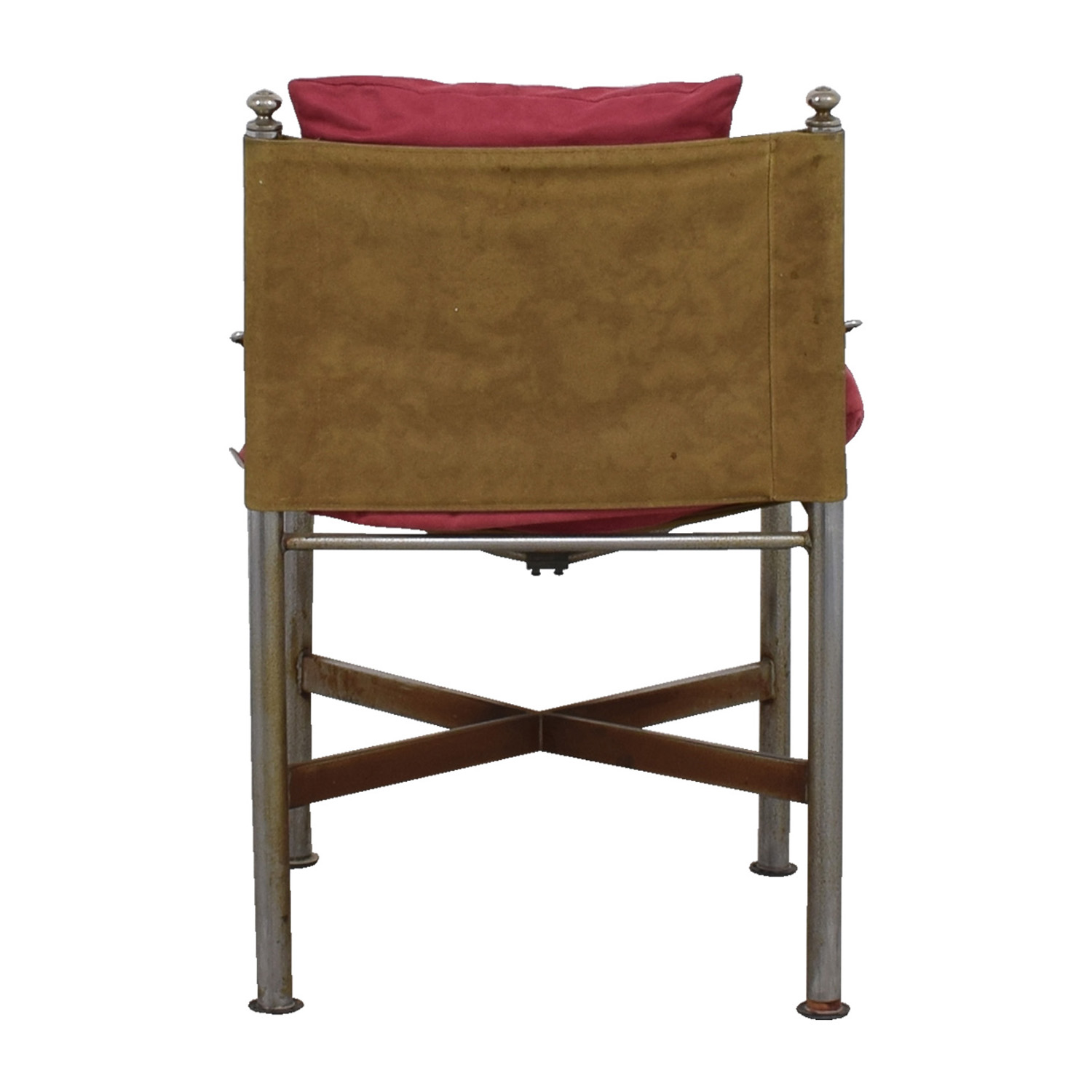 Retro Pink and Tan Suede and Leather Chair / Chairs