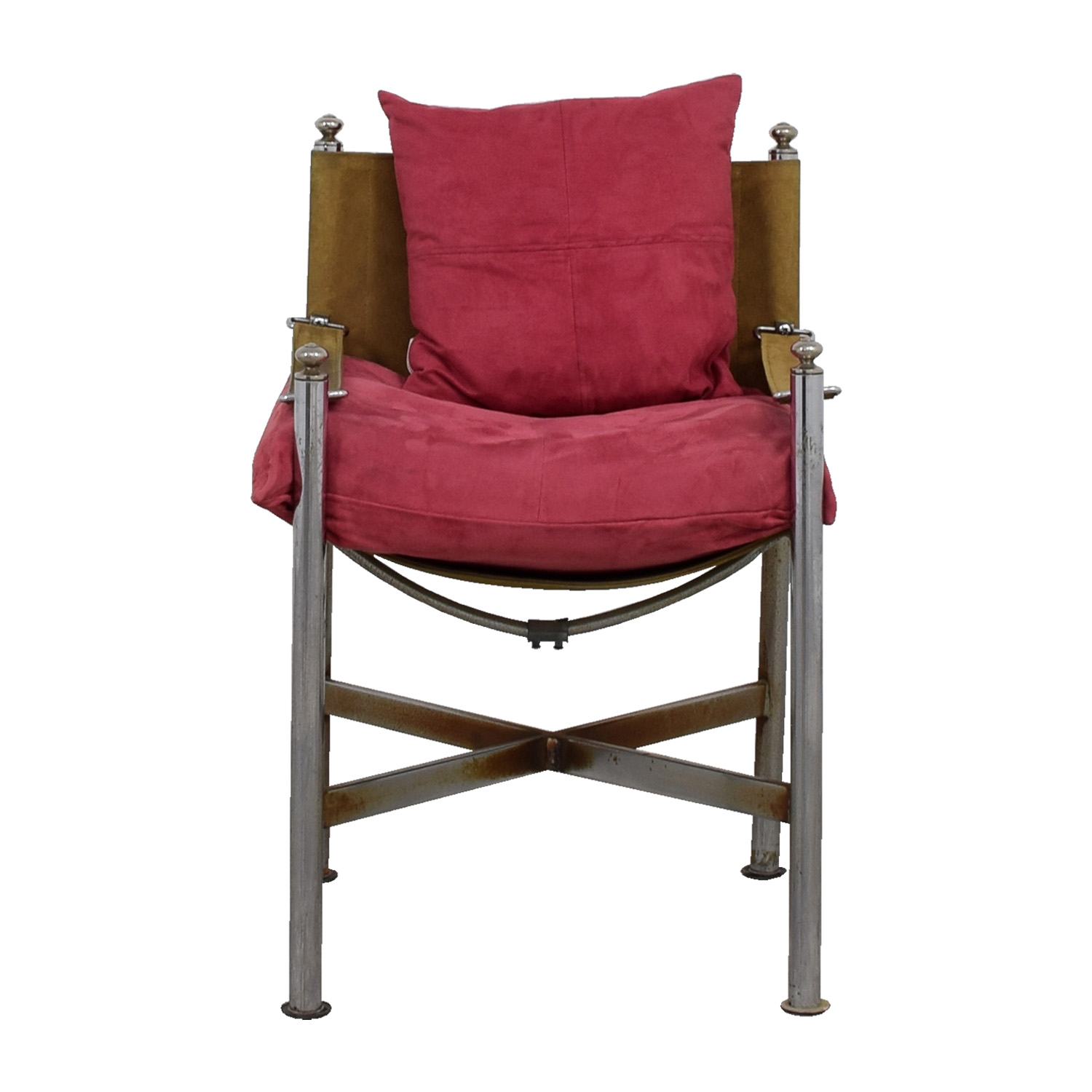 buy  Retro Pink and Tan Suede and Leather Chair online