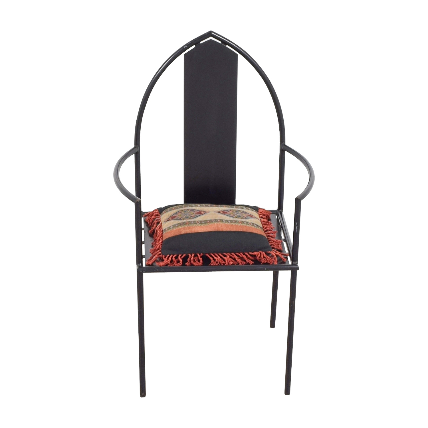 Cathedral Back Black Iron Chair second hand