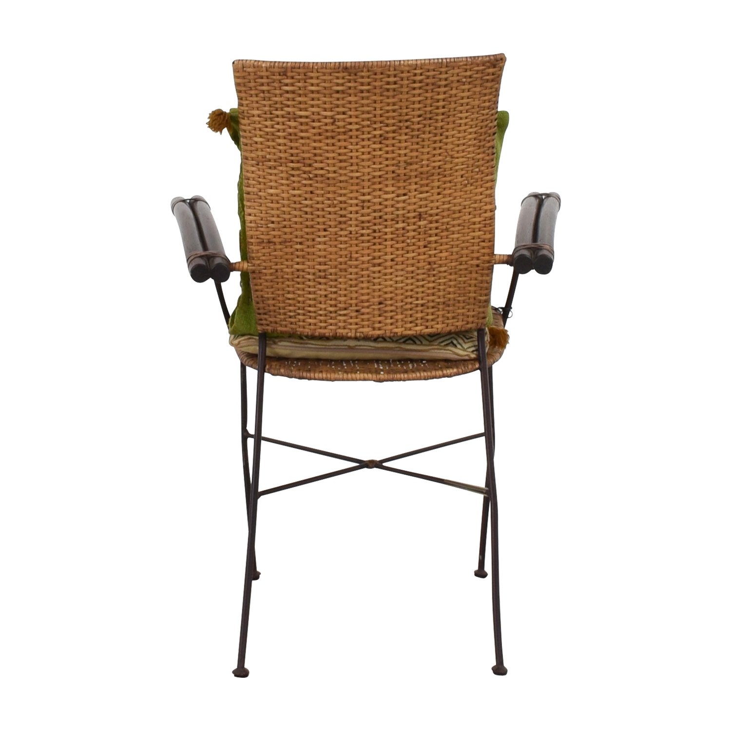 Wicker Chair with Bamboo Arms used