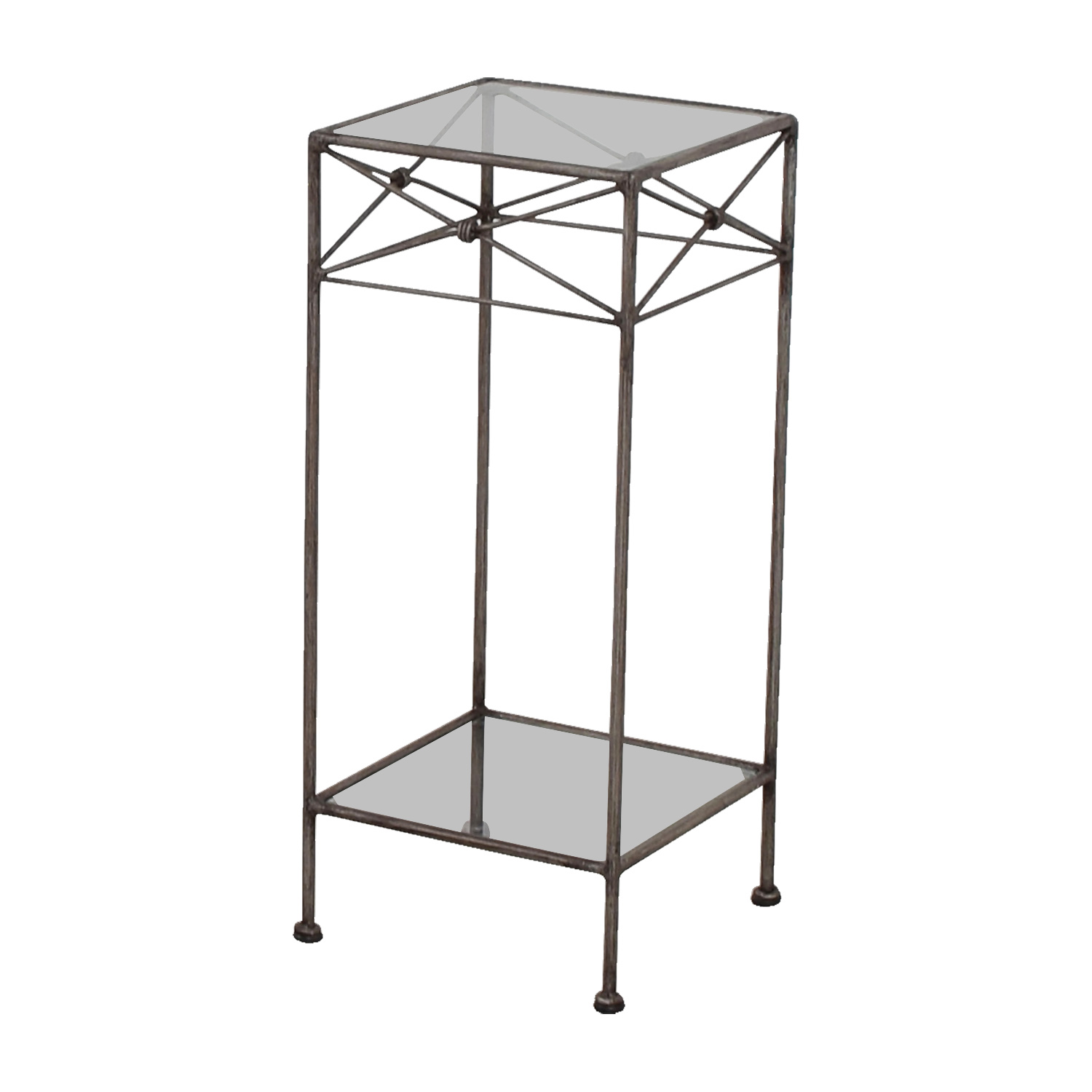 57 off wrought iron and glass side table tables for Wrought iron and glass side tables