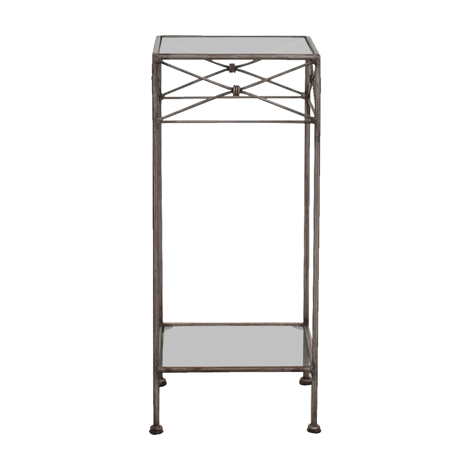 Wrought Iron and Glass Side Table second hand