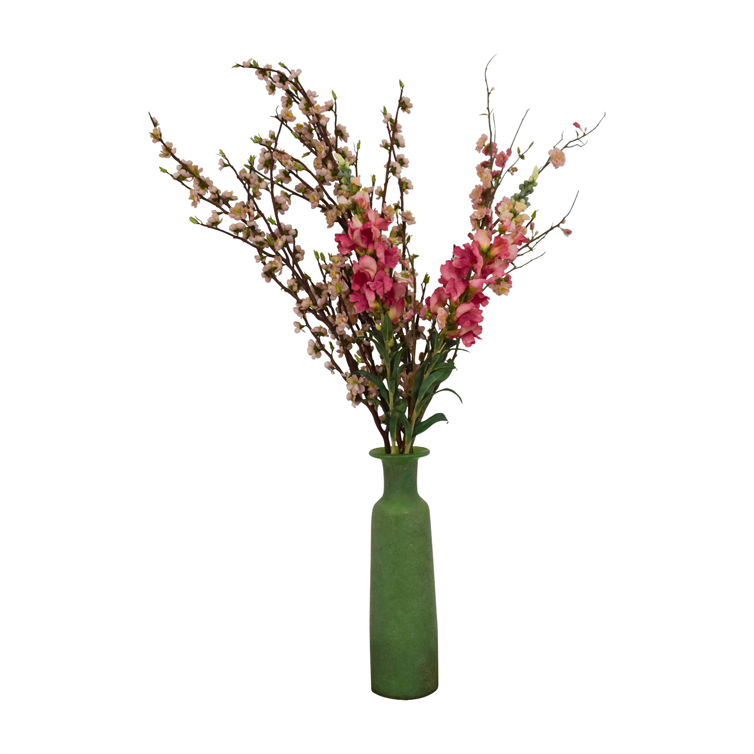 Green Frosted Vase with Pink Flowers price