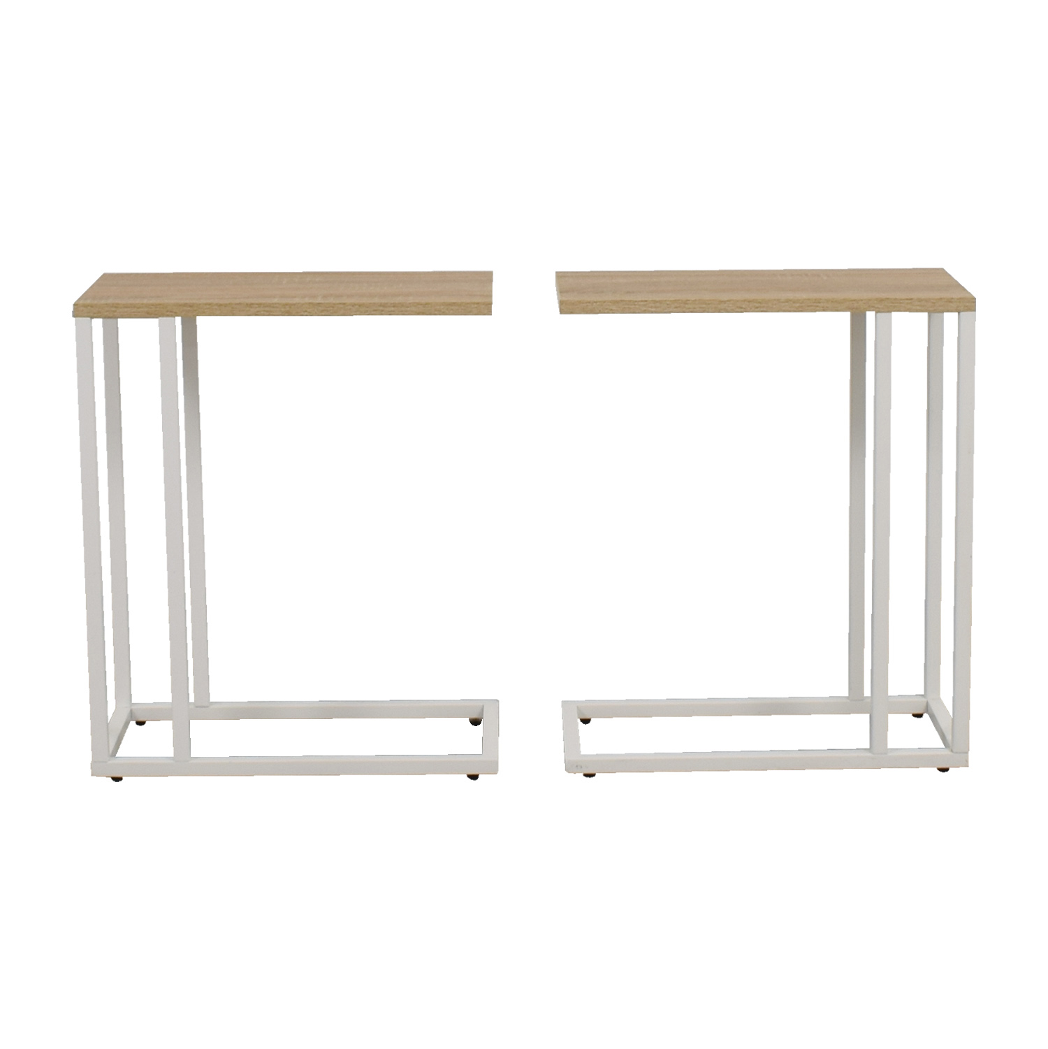 Container Store Container Store White and Natural Wood Side Tables for sale