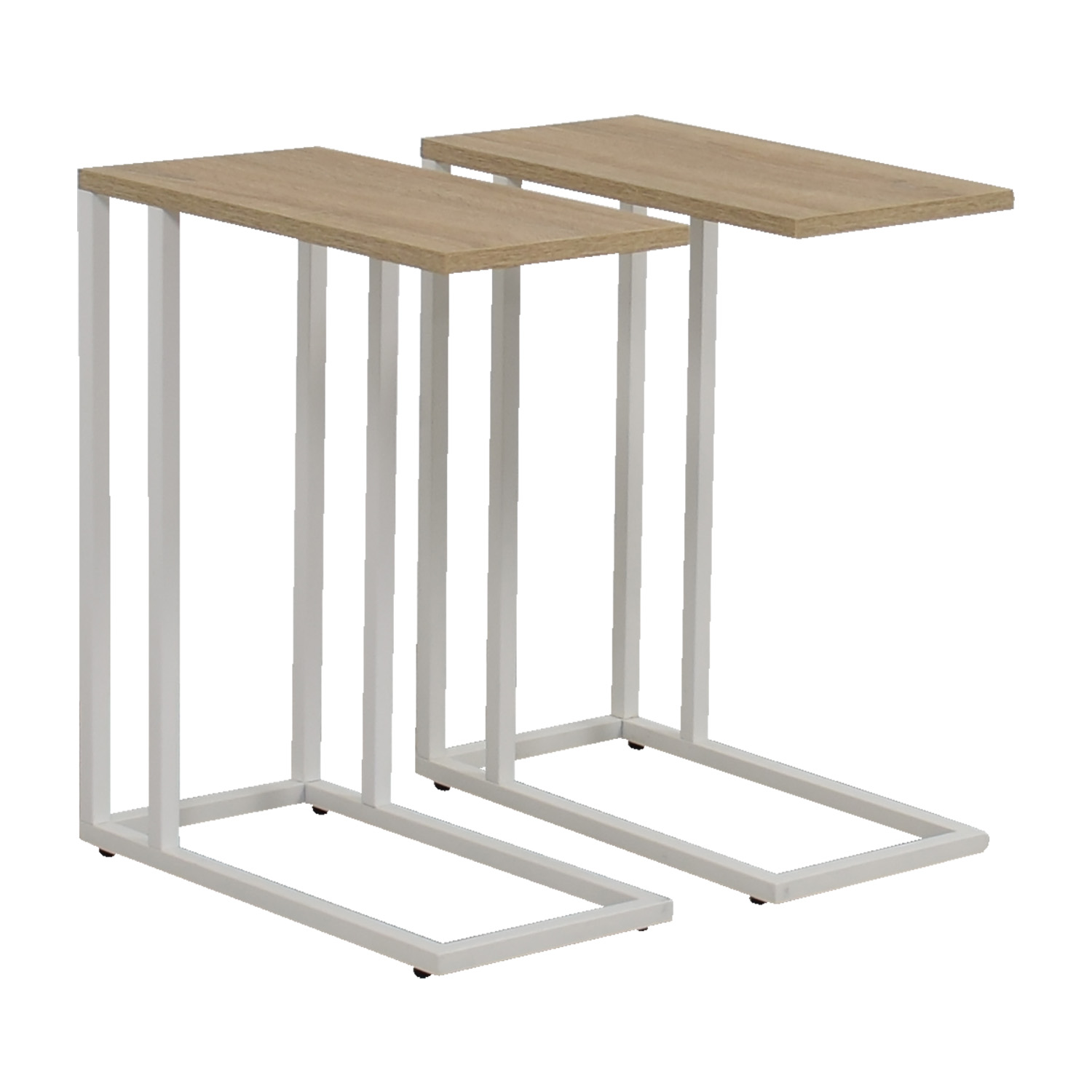61 off container store container store white and natural wood side tables tables. Black Bedroom Furniture Sets. Home Design Ideas