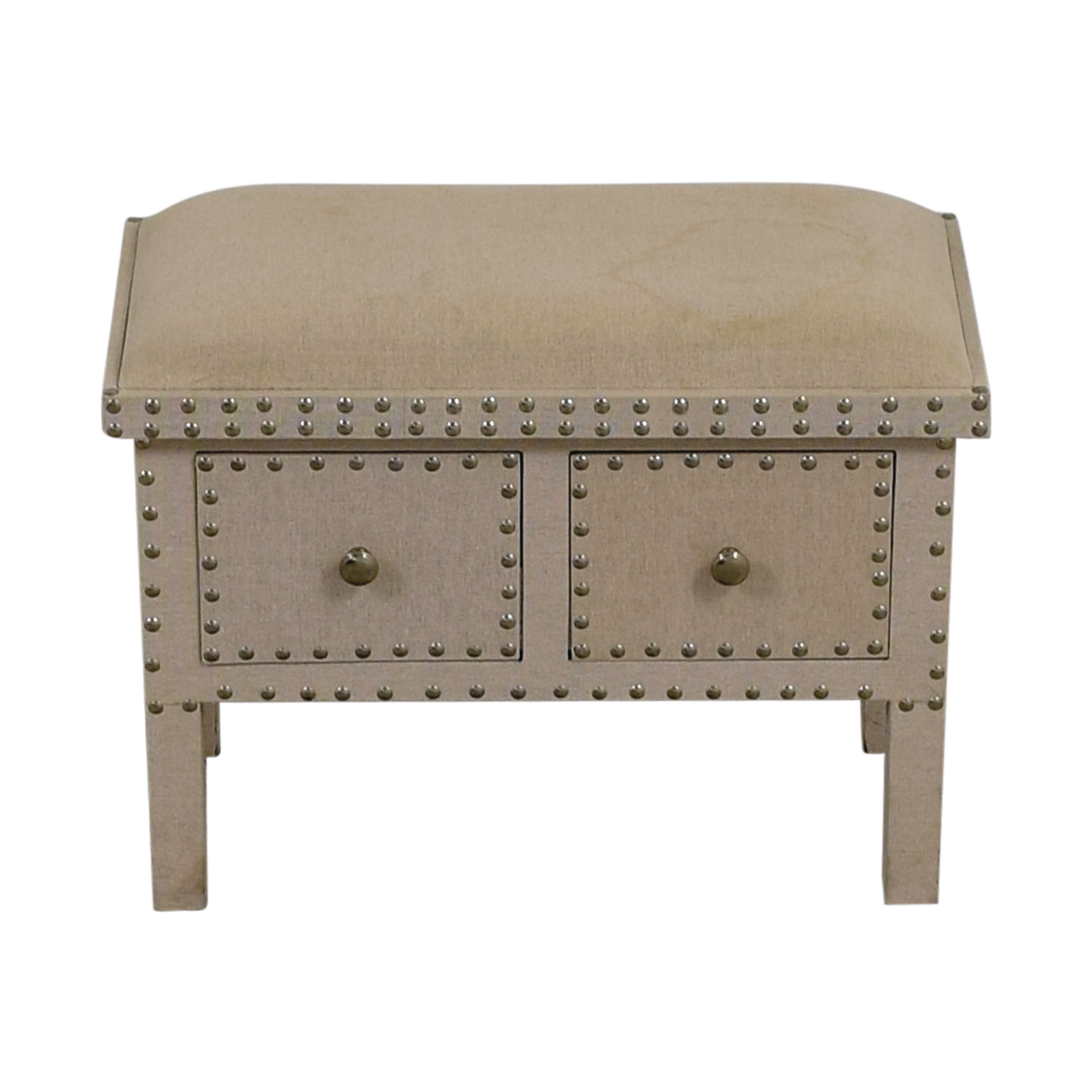shop Beige Linen Nailhead Bench with Two-Drawers