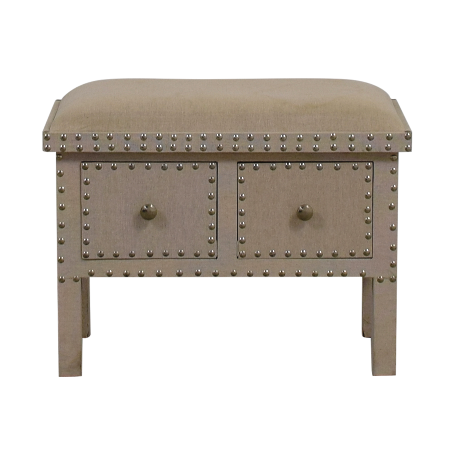 Beige Linen Nailhead Bench with Two-Drawers / Benches