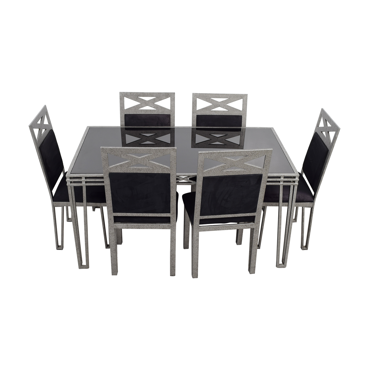 buy Black Glass and Silver Base Dining Set Tables