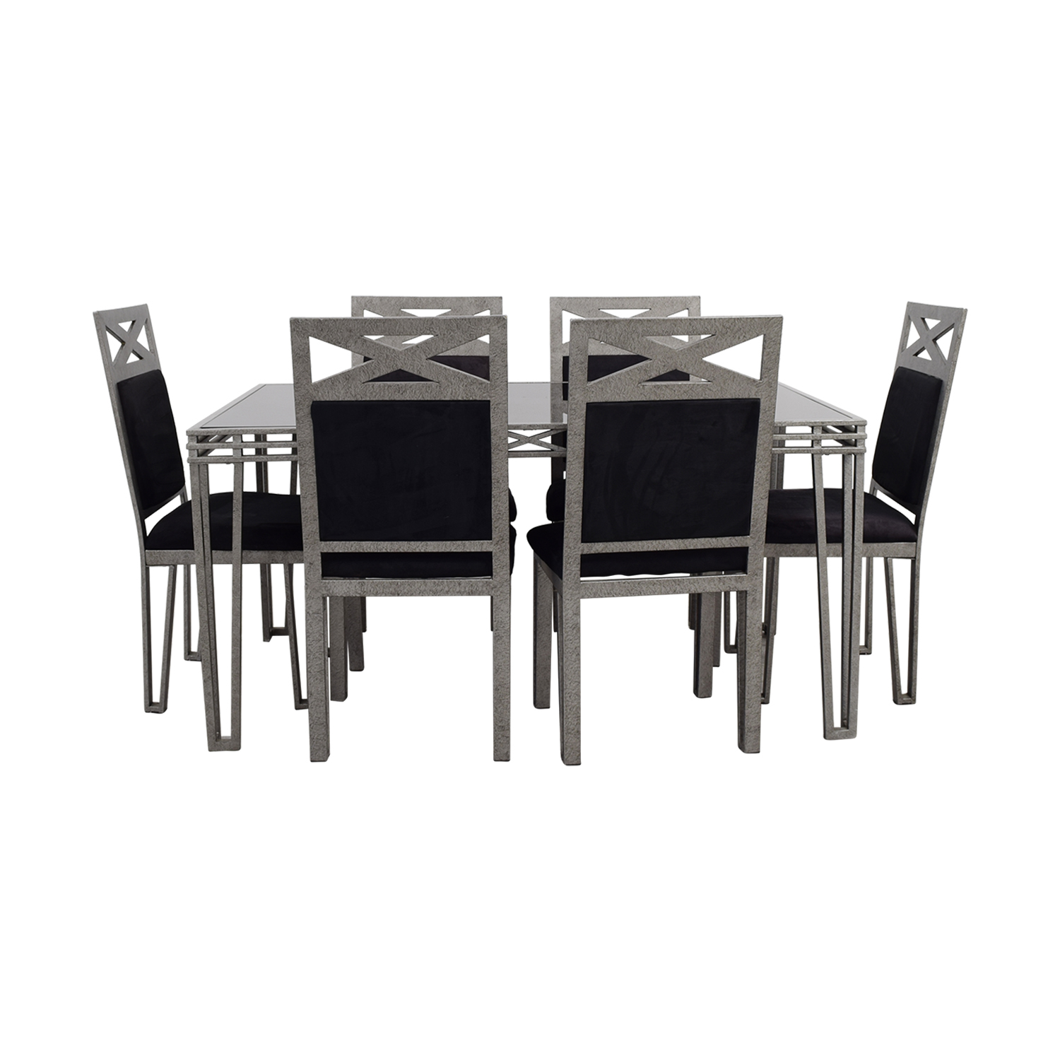 Black Glass and Silver Base Dining Set coupon