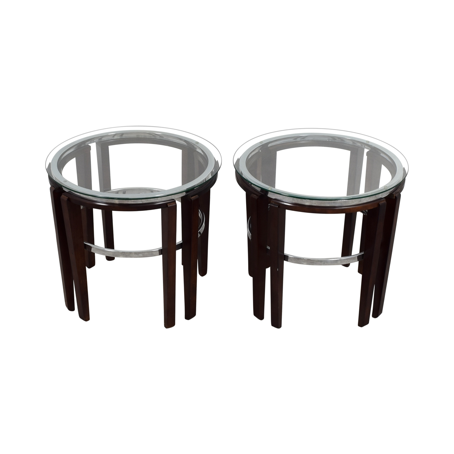 Round Glass and Wood End Tables
