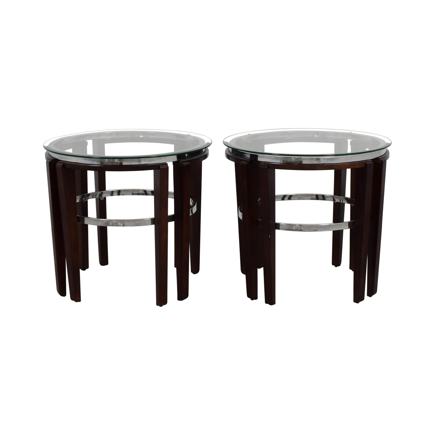 Round Glass and Wood End Tables on sale