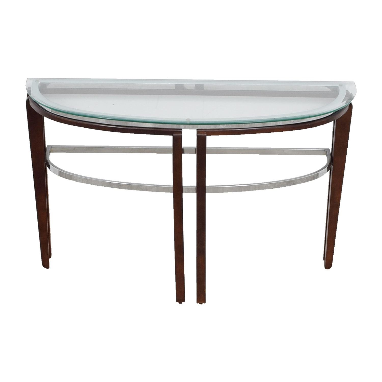 Glass and Wood Half Hallway Table nj