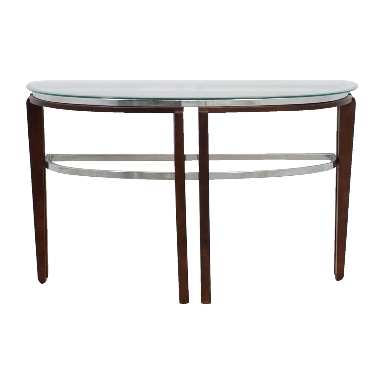 Glass and Wood Half Hallway Table for sale