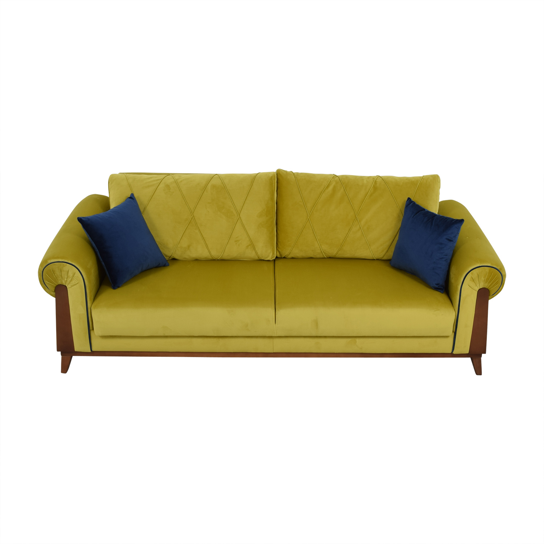 - 41% OFF - Lambert Chartreuse Green Sleeper Sofa With Pillows / Sofas