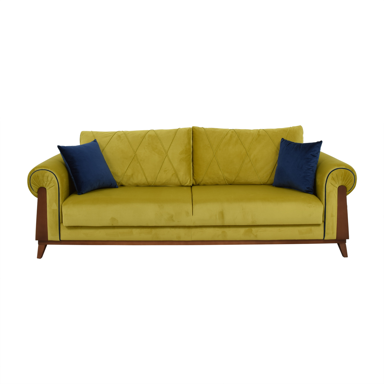 buy Lambert Chartreuse Green Sleeper Sofa with Pillows Lambert Classic Sofas
