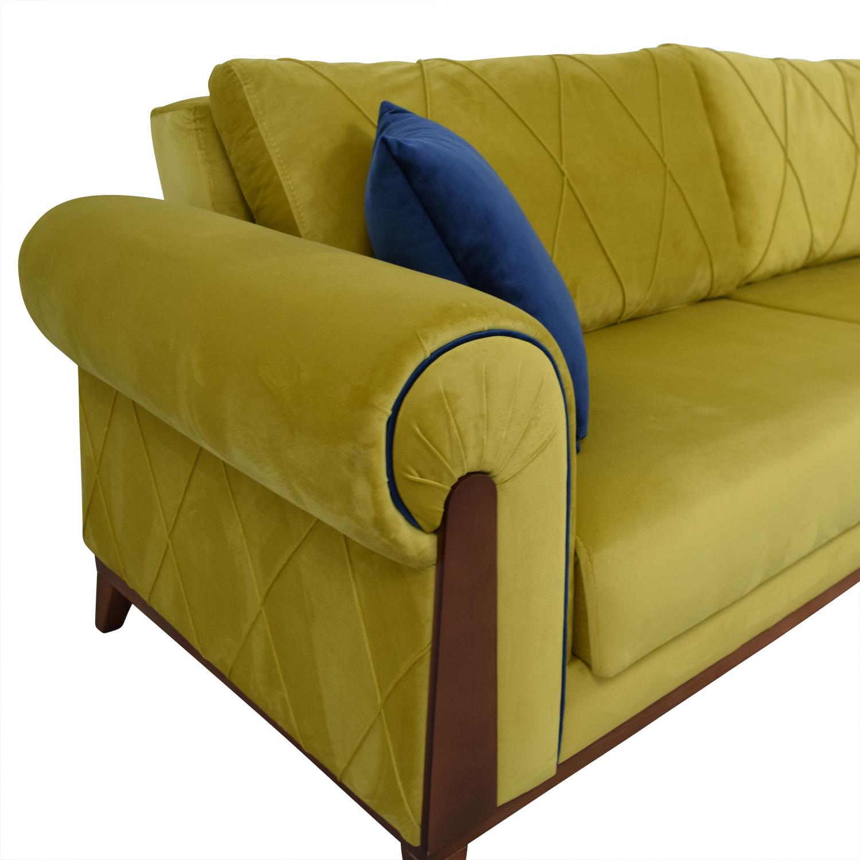 41 Off Lambert Lambert Chartreuse Green Sleeper Sofa With Pillows
