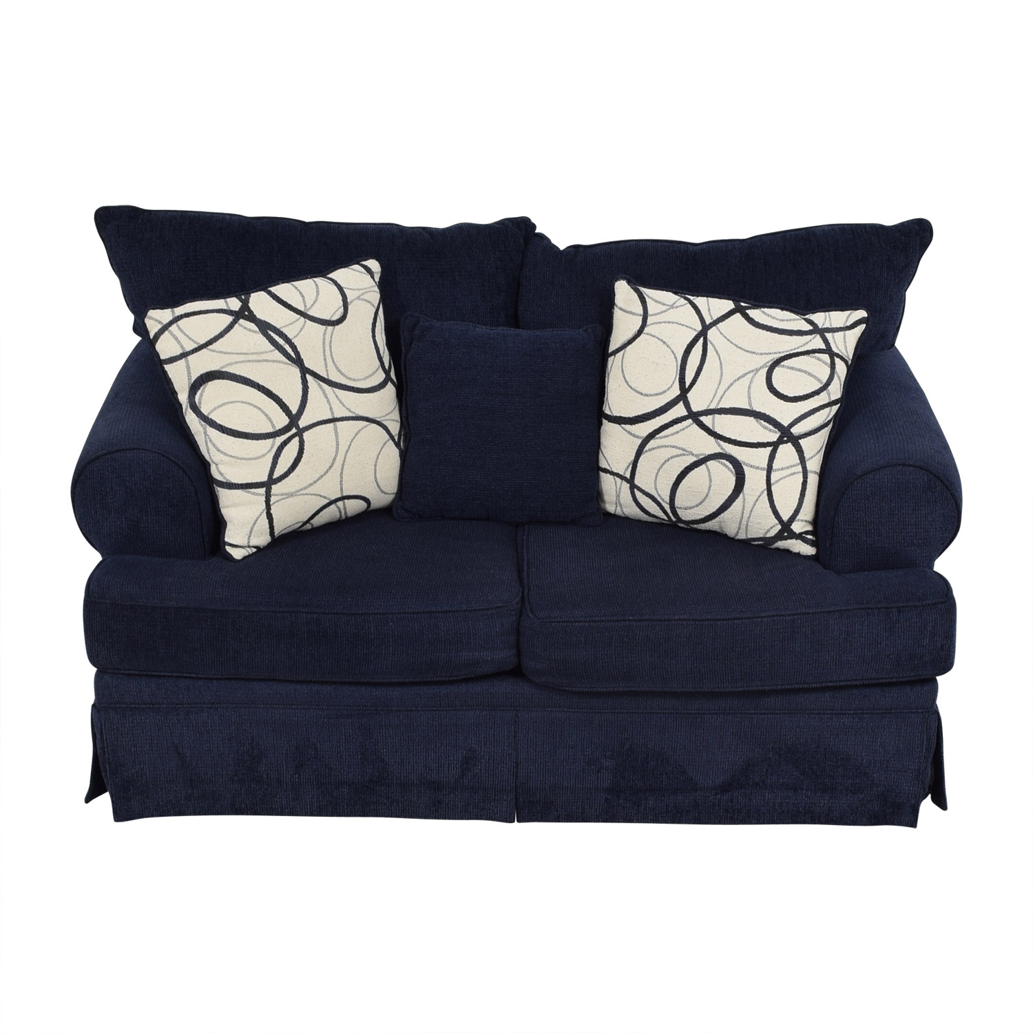 shop Bob's Furniture Bob's Furniture Mystic Navy Loveseat with Pillows online