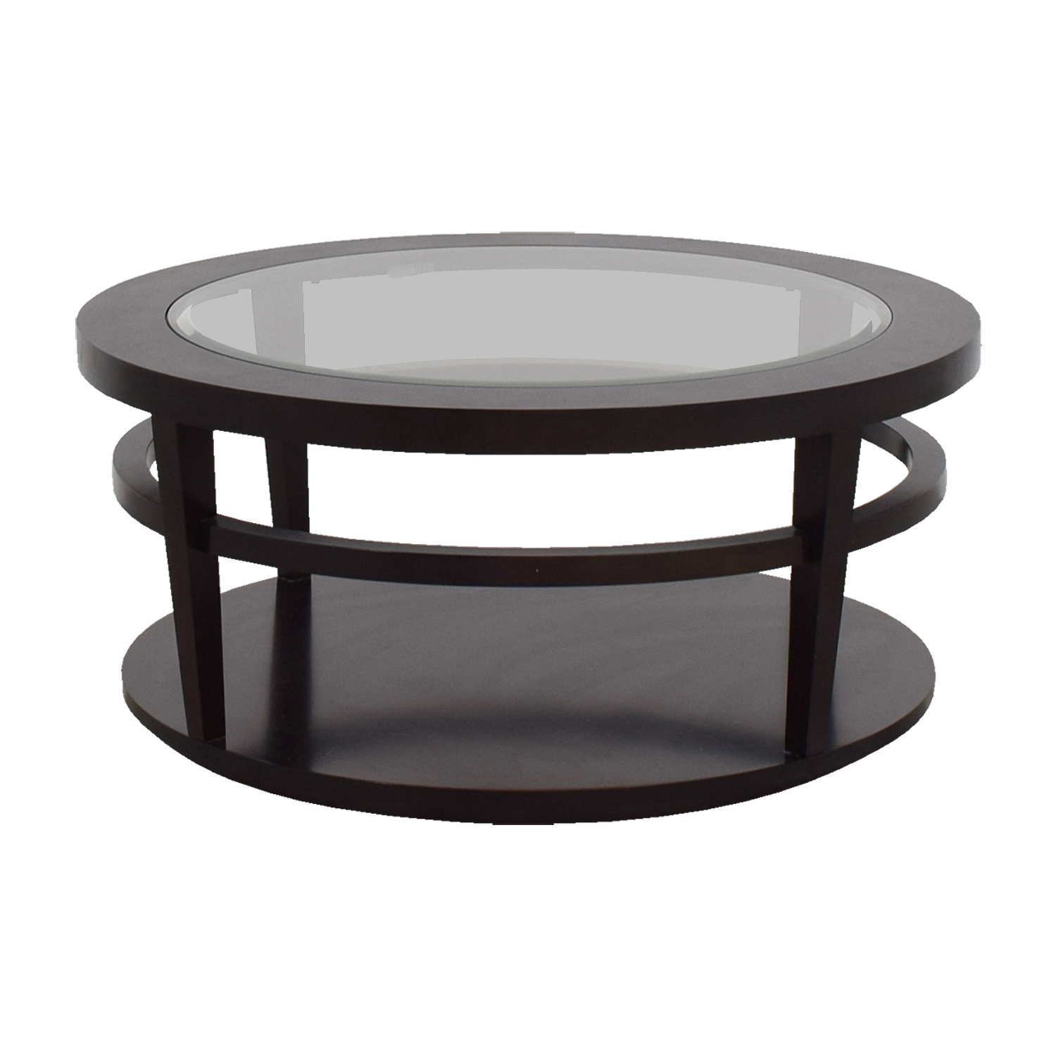 shop Macys Avalon Round Glass and Wood Coffee Table Macys