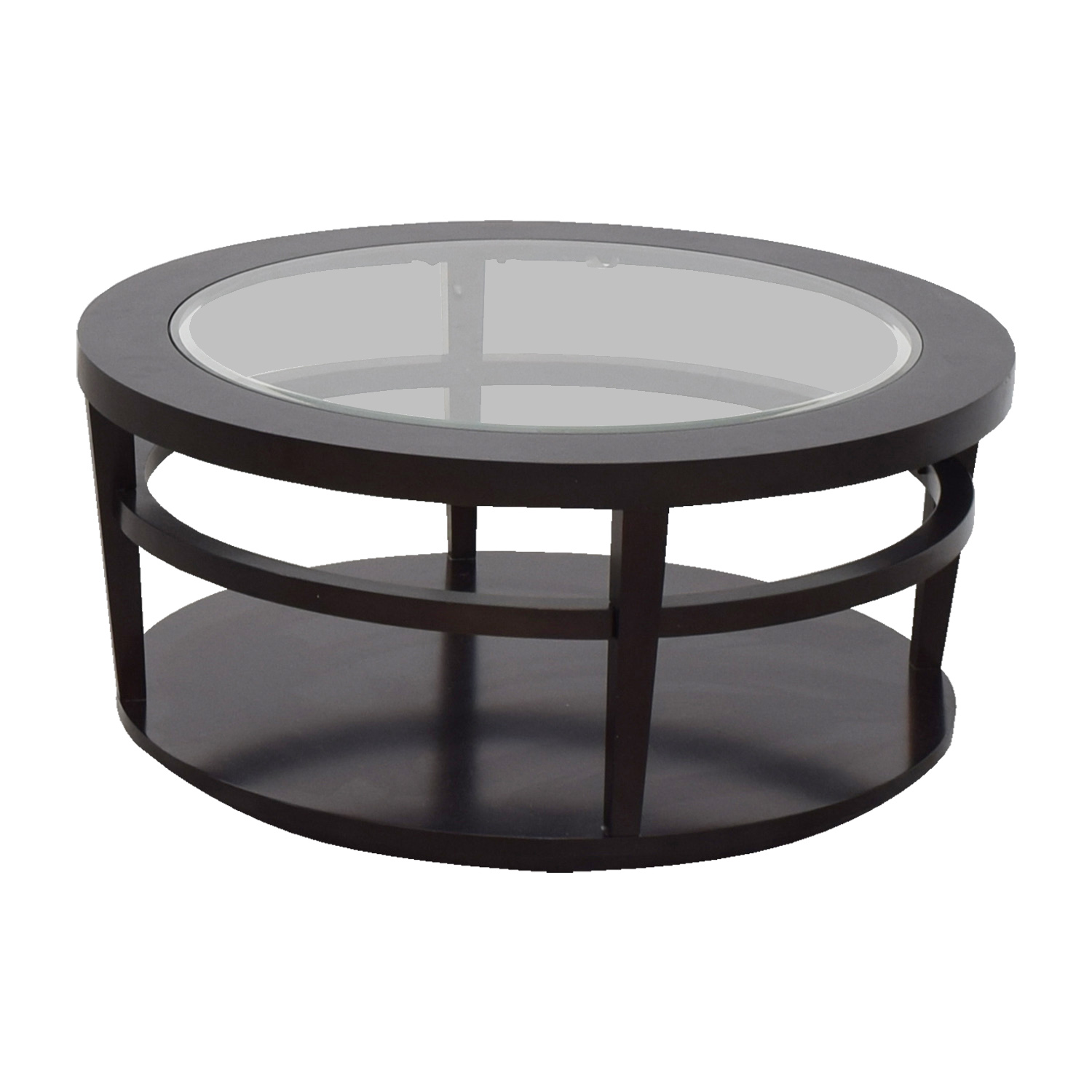 Round Coffee Table Dimensions: Macy's Macy's Avalon Round Glass And Wood Coffee