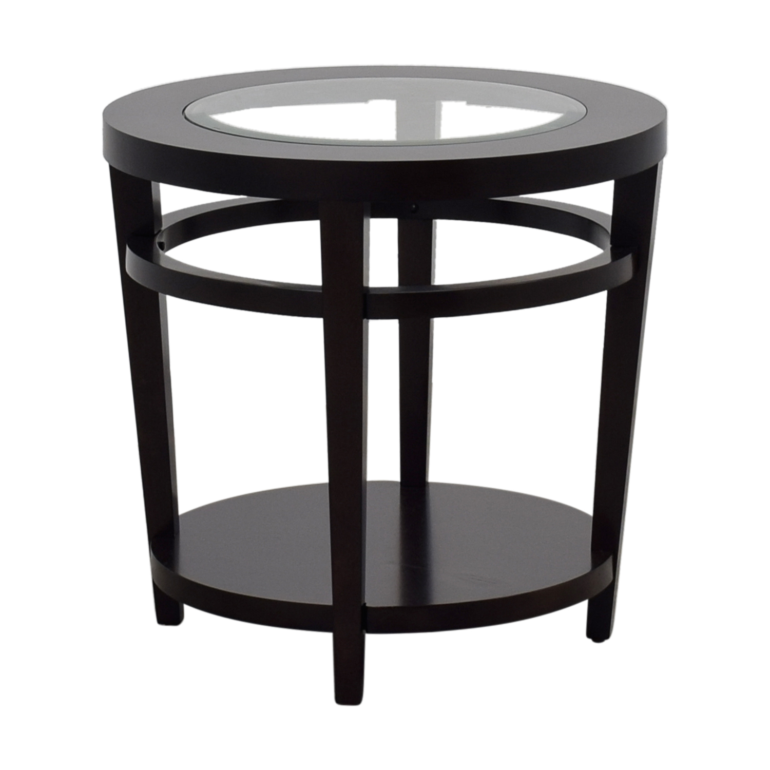 79 Off Macy S Macy S Avalon Round Wood And Glass Side Table Tables