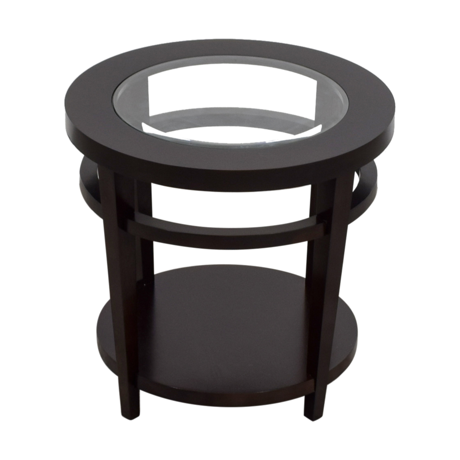 Macys Avalon Round Wood and Glass Side Table / Tables