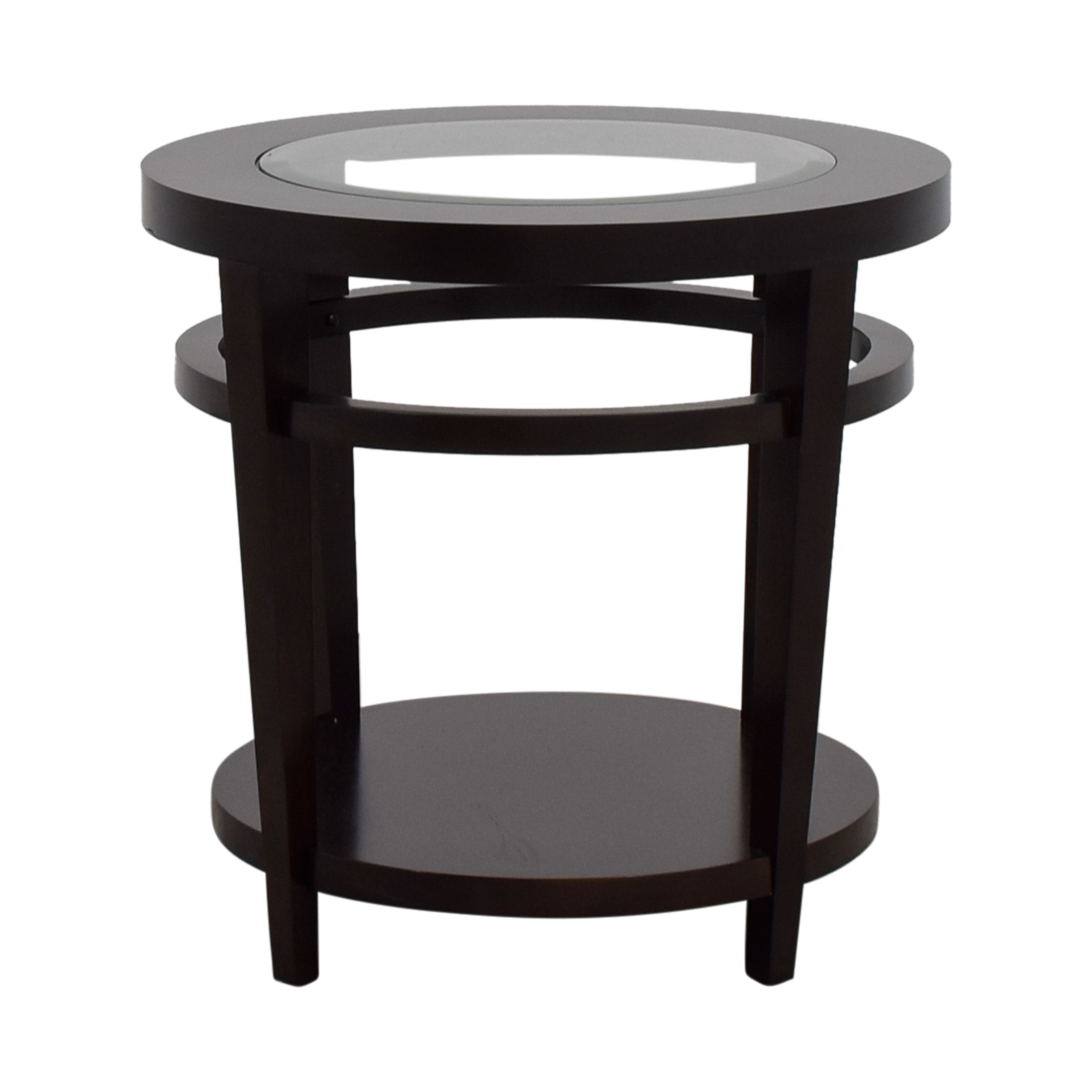 Macys Macys Avalon Round Wood and Glass Side Table price