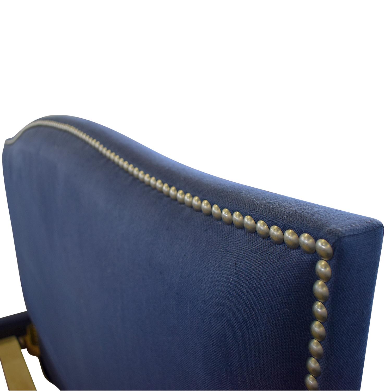 14a6840805b2d shop West Elm Nailhead Blue Upholstered Platform Queen Bed Frame West Elm