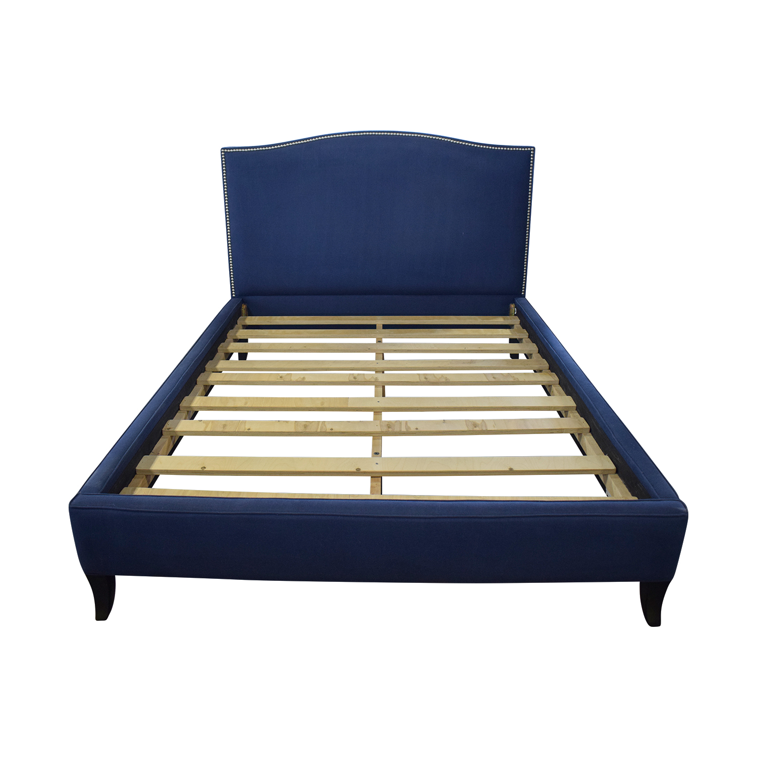 West Elm West Elm Nailhead Blue Upholstered Platform Queen Bed Frame Bed Frames