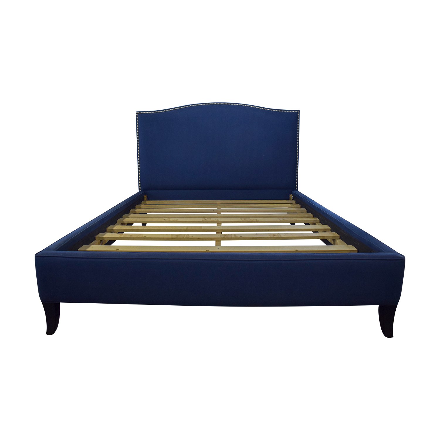 West Elm West Elm Nailhead Blue Upholstered Platform Queen Bed Frame
