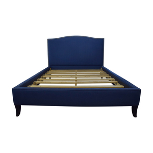 West Elm West Elm Nailhead Blue Upholstered Platform Queen Bed Frame on sale