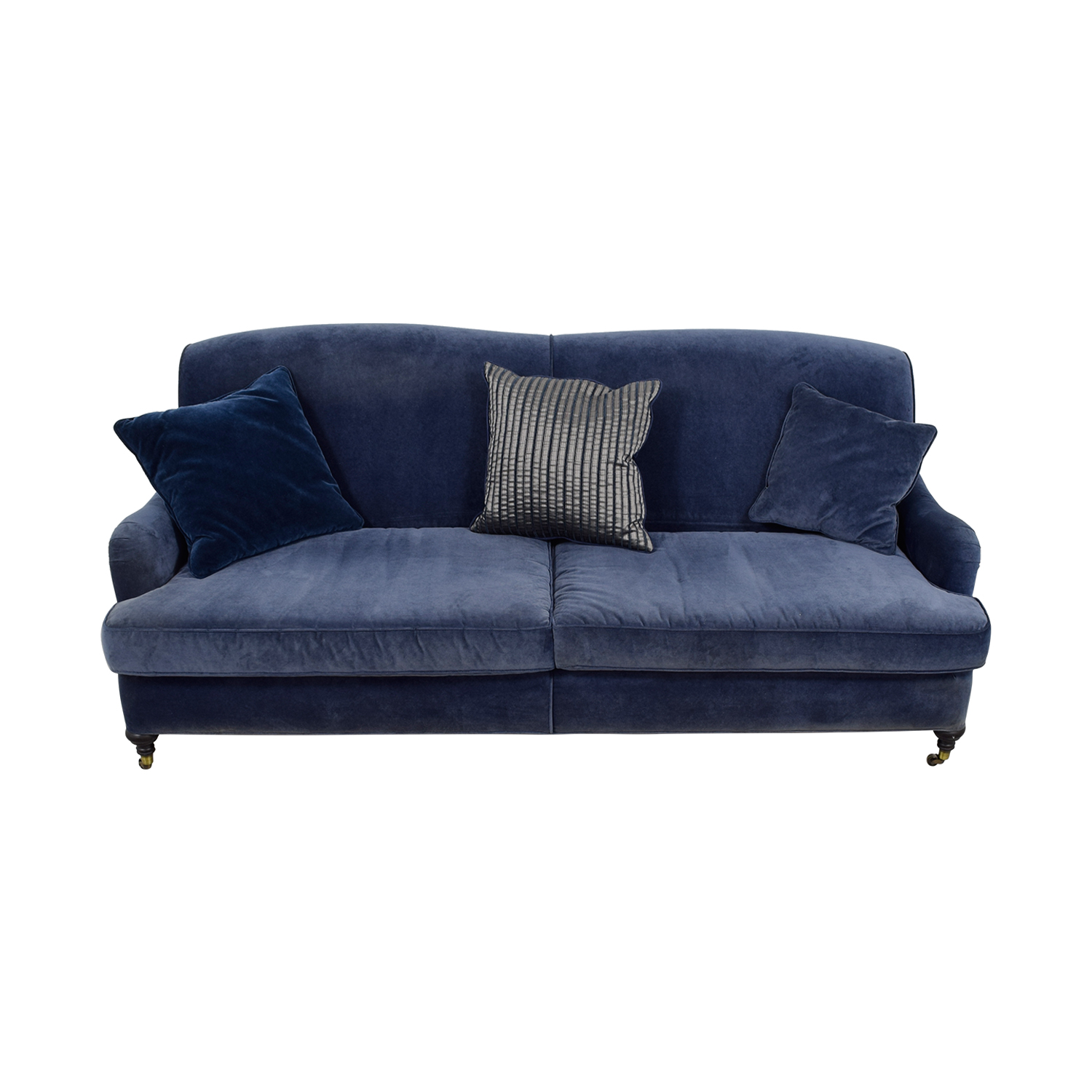 Mitchell Gold + Bob Williams Blue Velvet Sofa on Castors / Sofas