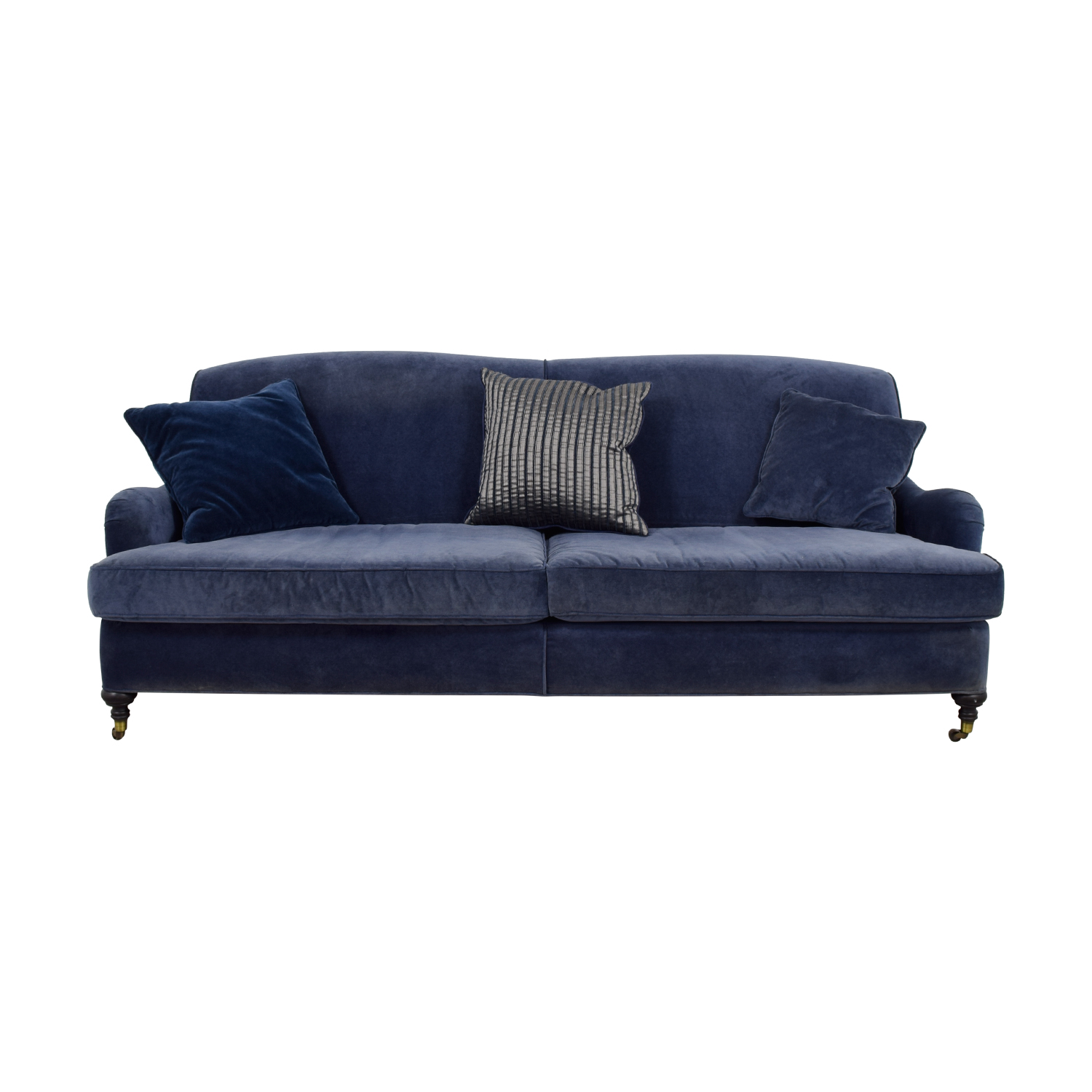 buy Mitchell Gold + Bob Williams Blue Velvet Sofa on Castors Mitchell Gold +Bob Williams