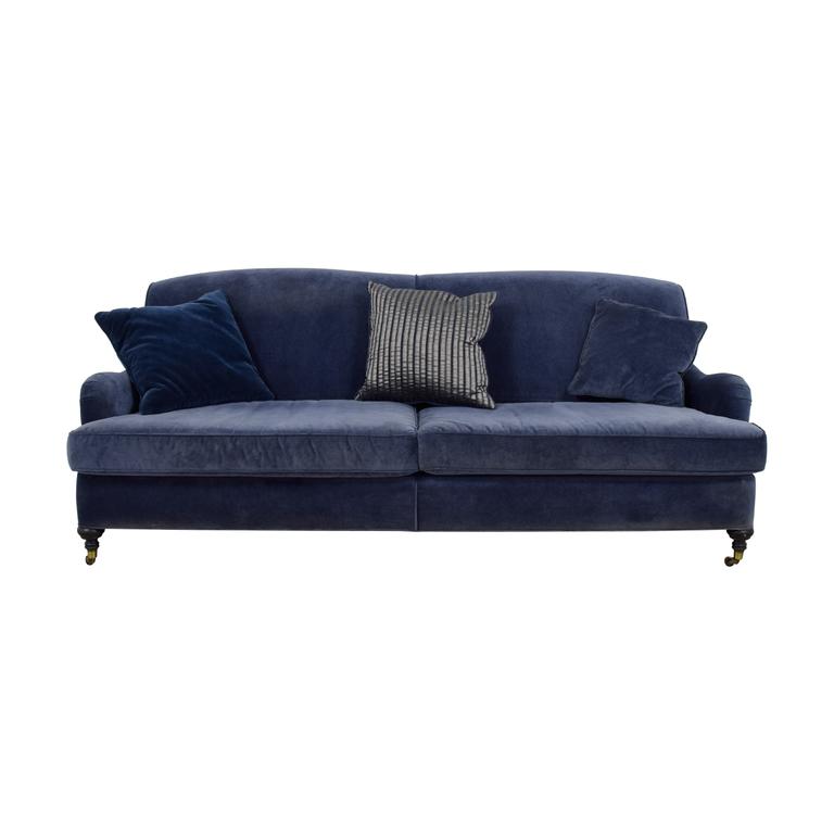 Mitchell Gold + Bob Williams Mitchell Gold + Bob Williams Blue Velvet Sofa on Castors nj