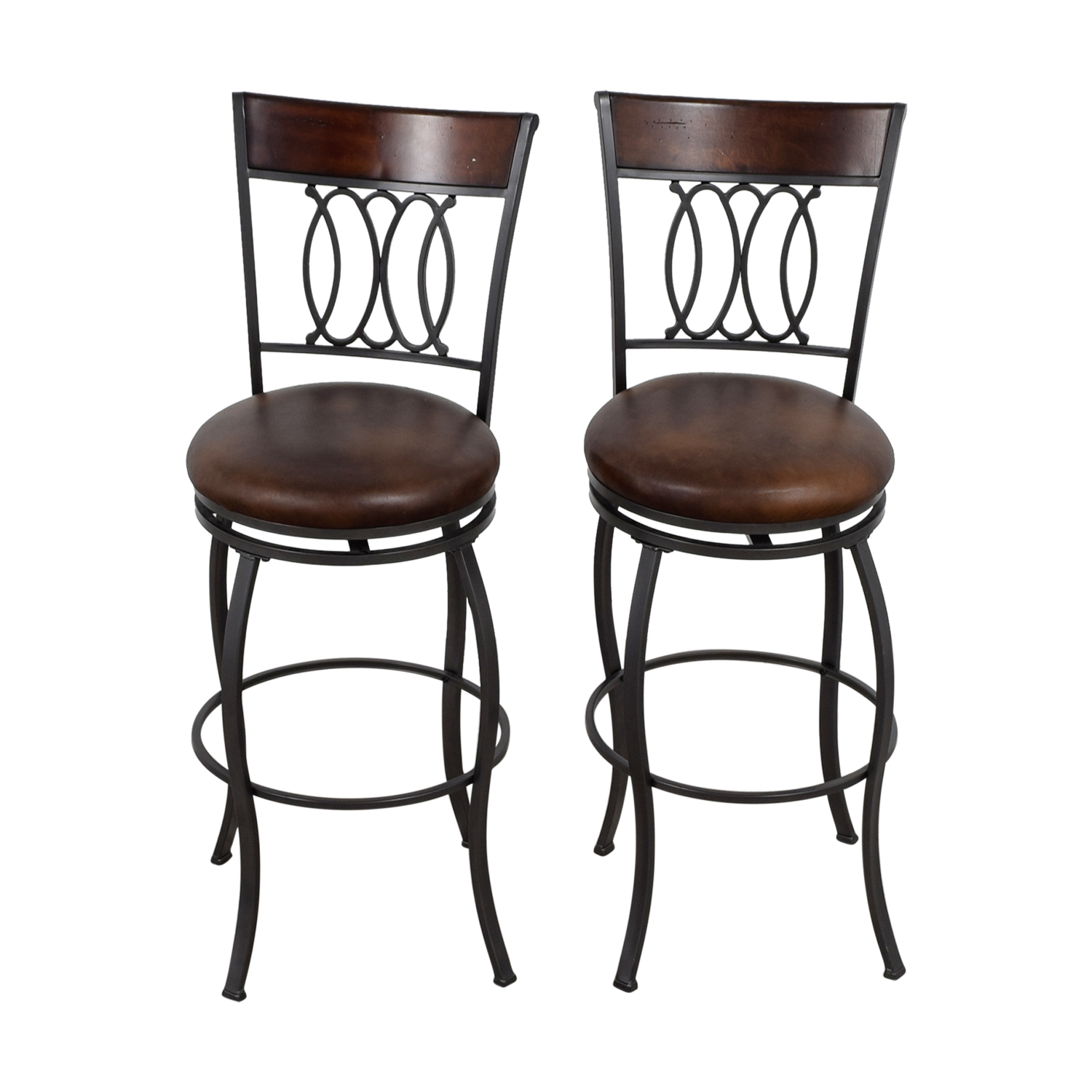 73 Off Bob 39 S Furniture Bob 39 S Furniture Brown Swivel Bar Stools Chairs