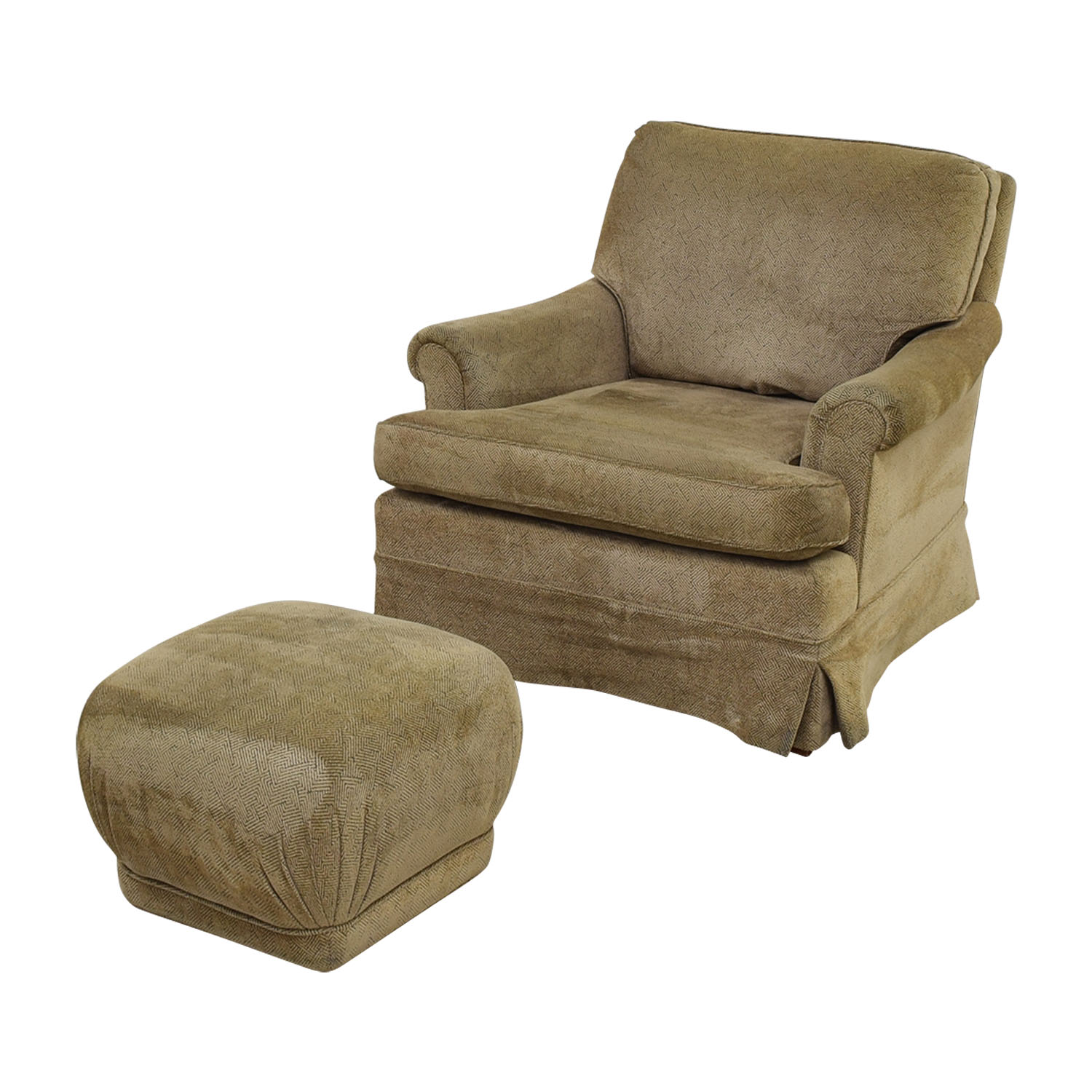 buy Tan Upholstered Accent Chair with Foot Stool Accent Chairs