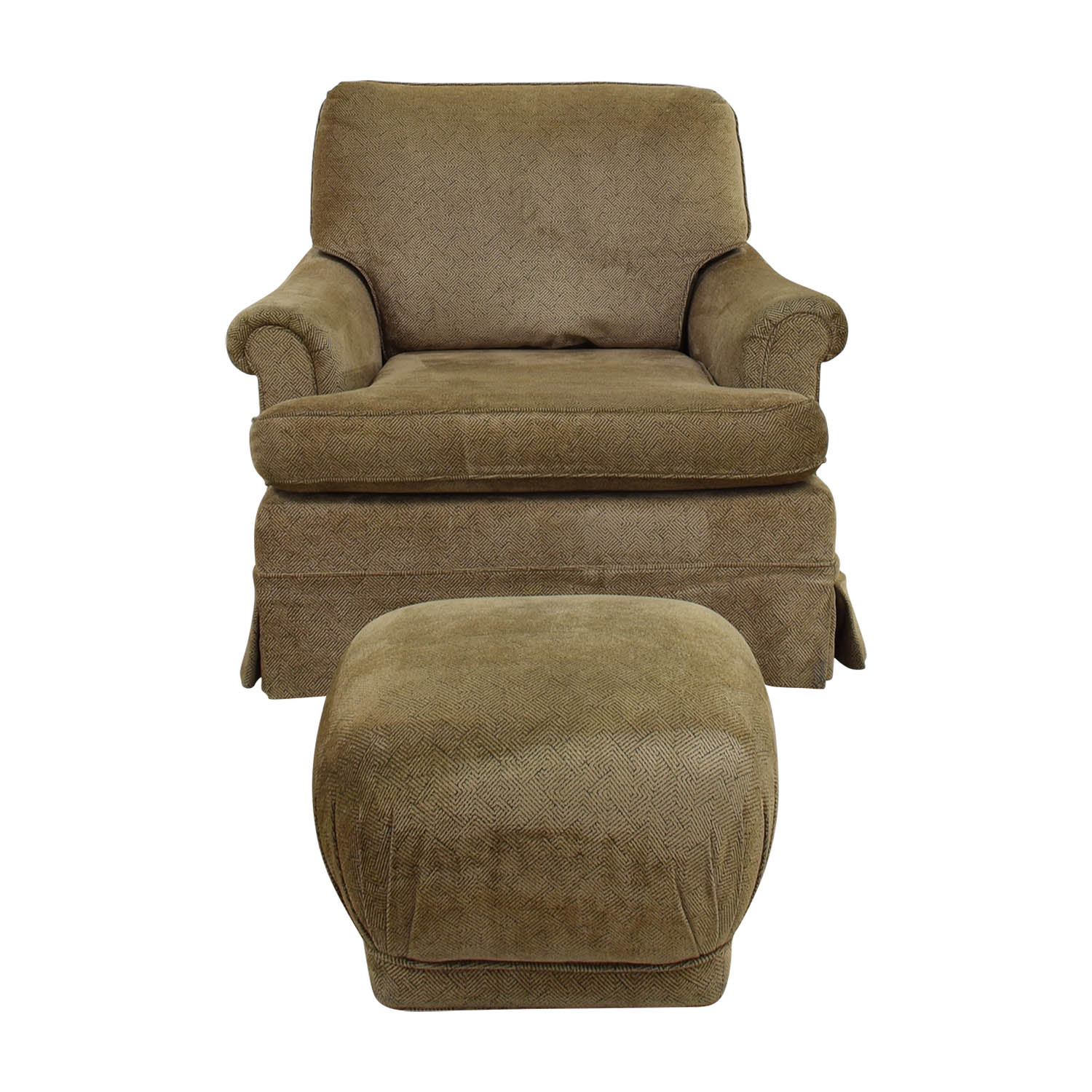 Tan Upholstered Accent Chair with Foot Stool