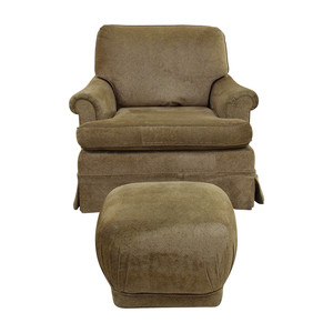 buy  Tan Upholstered Accent Chair with Foot Stool online