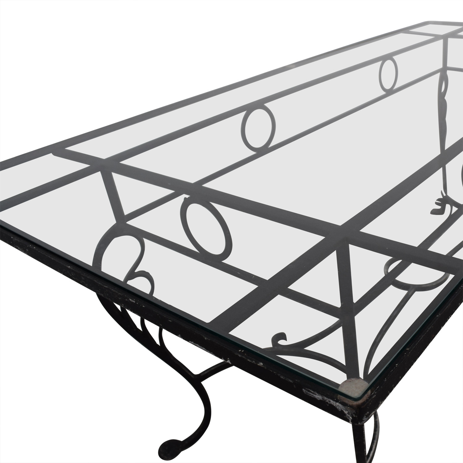 Vintage Wrought Iron Base and Glass Top Dining Table discount