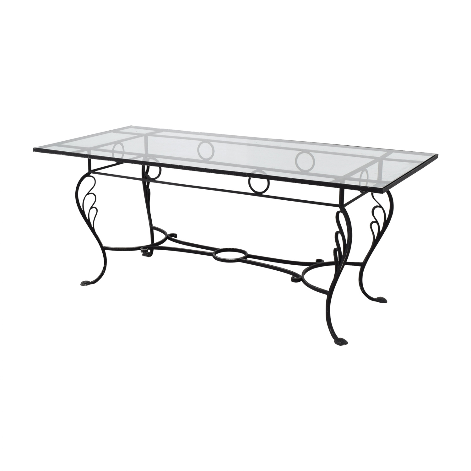 80 Off Vintage Wrought Iron Base And Glass Top Dining Table Tables