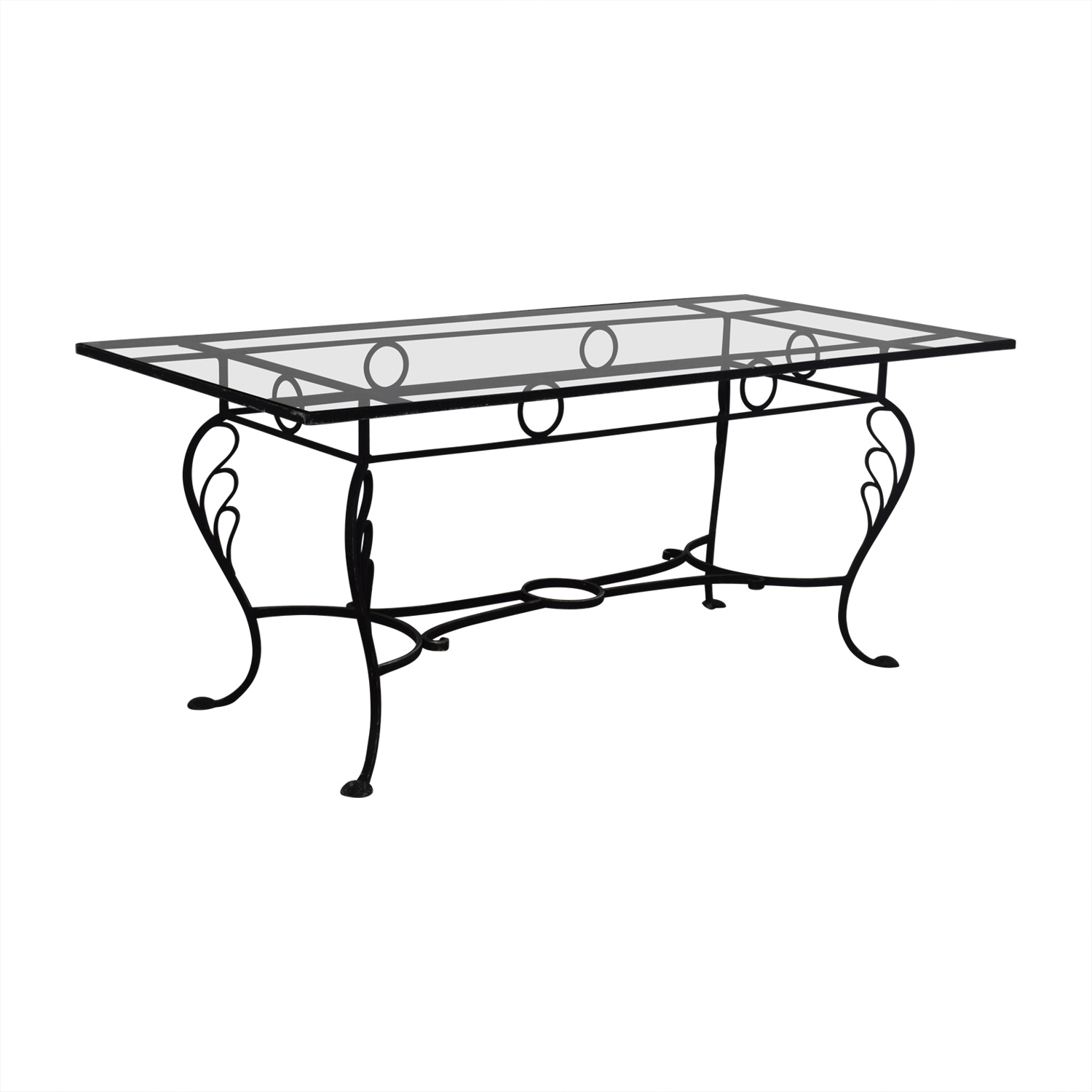 80 off vintage wrought iron base and glass top dining table tables. Black Bedroom Furniture Sets. Home Design Ideas