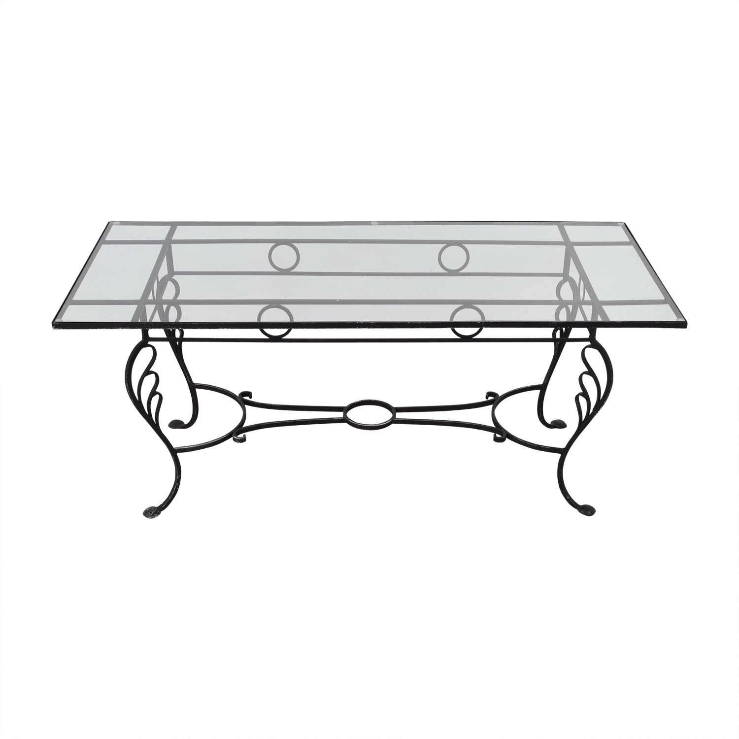Vintage Wrought Iron Base and Glass Top Dining Table used