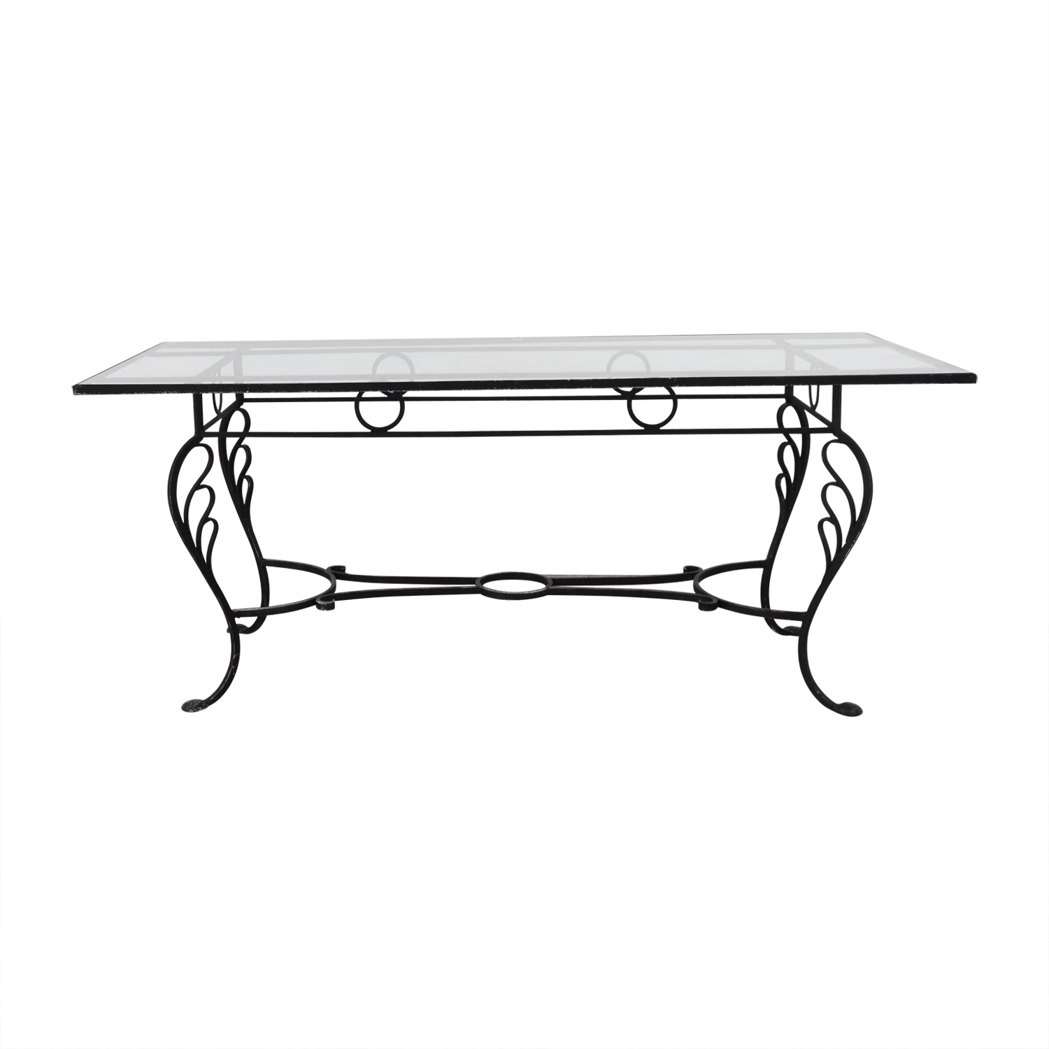 Vintage Wrought Iron Base And Gl Top Dining Table On