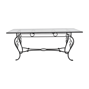 Vintage Wrought Iron Base and Glass Top Dining Table