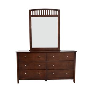 Bob's Furniture Eight-Drawer Dresser with Caged Mirror sale