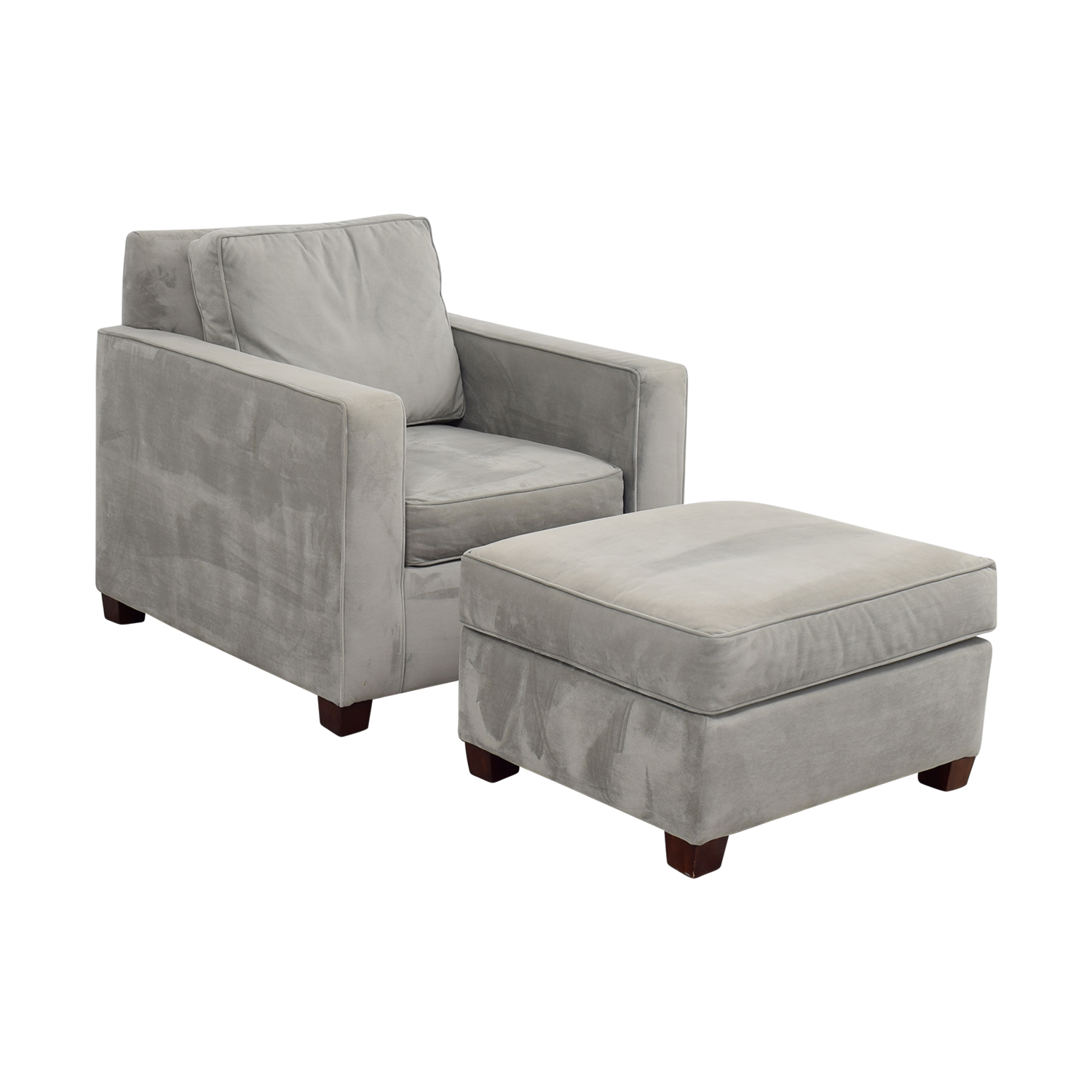 49 Off West Elm West Elm Grey Accent Chair And Ottoman