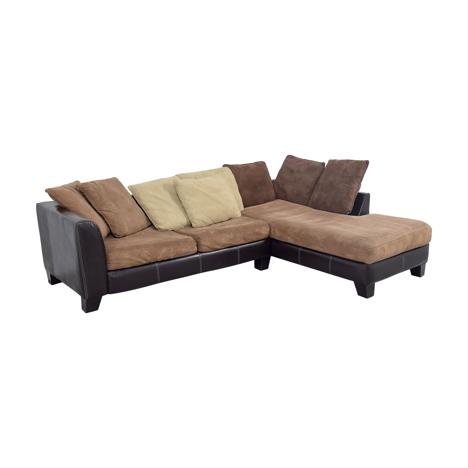 Albany Industries Brown Chaise Sectional With Pillows Sectionals