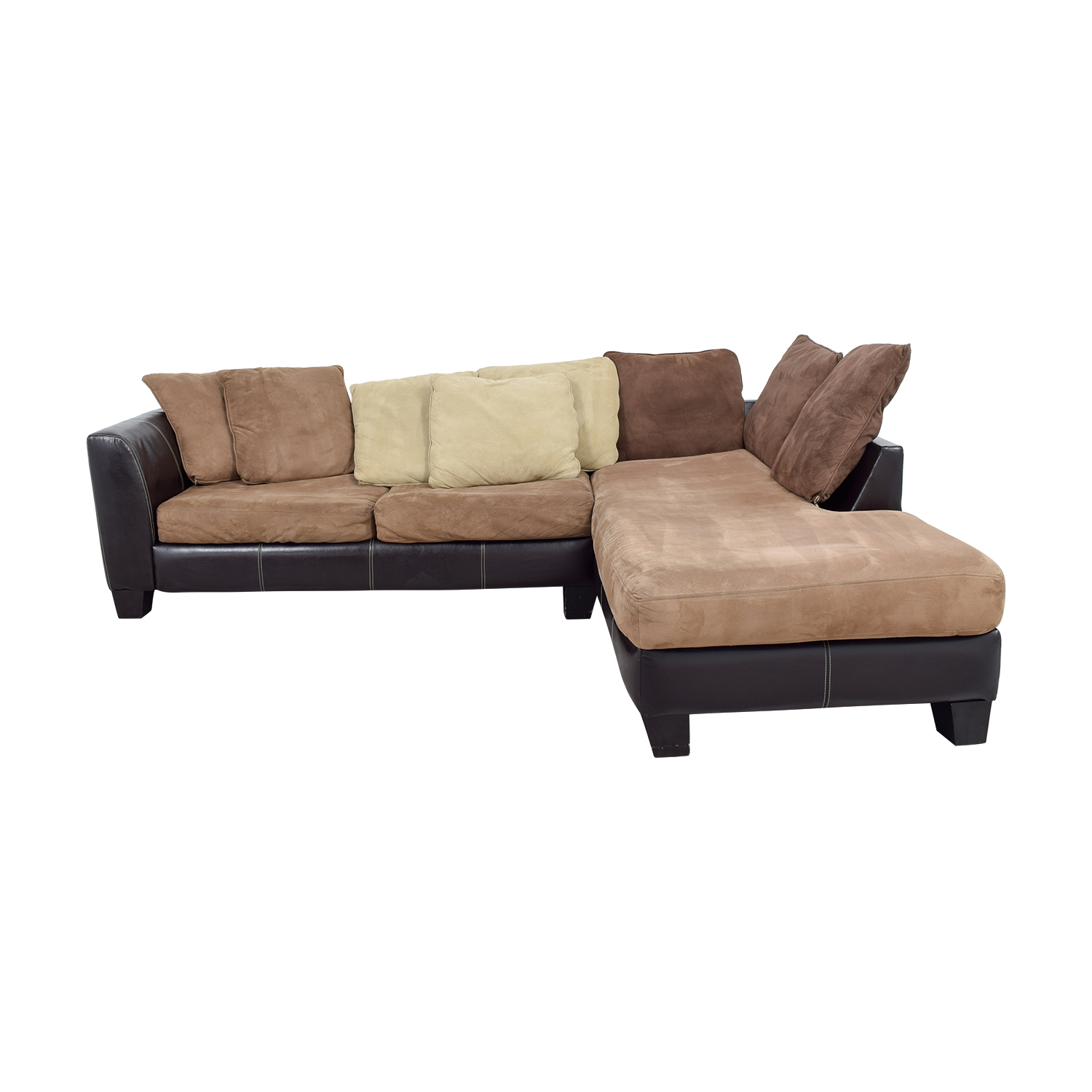 Albany Industries Albany Industries Brown Chaise Sectional with Pillows Sofas