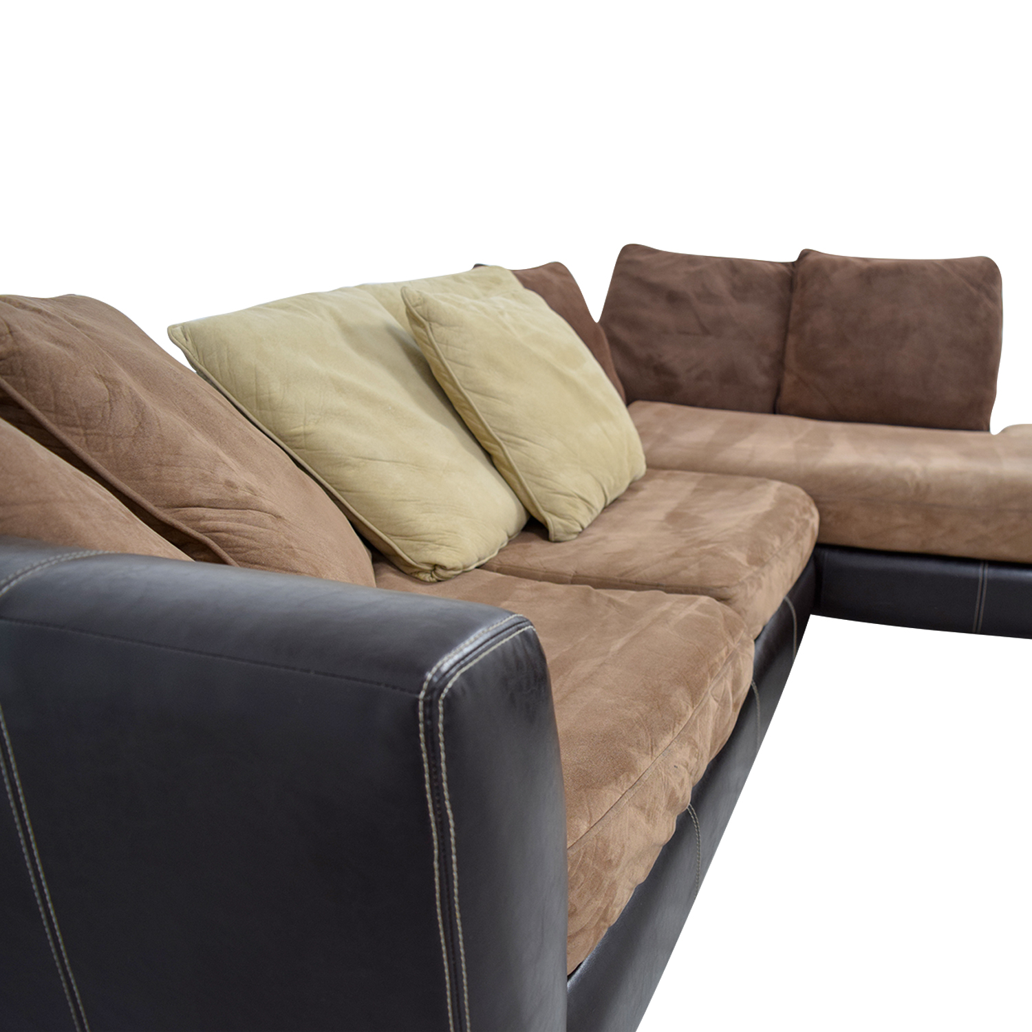 Albany Industries Brown Chaise Sectional With Pillows