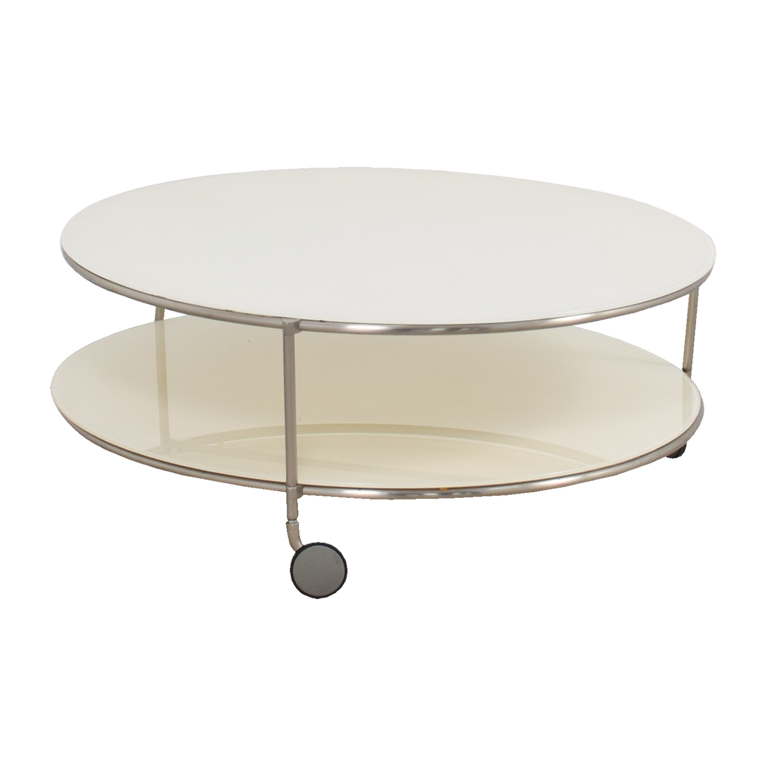 Crate & Barrel Crate & Barrel White Double Glass Cocktail Table on Castors